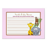 Jungle Babies Pink Baby Shower Advice Card 11 Cm X 16 Cm Invitation Card