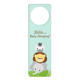 Jungle Baby Nursery door hanger blue