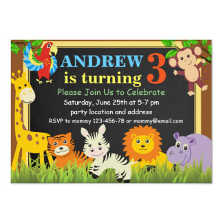 Jungle Birthday Invitation,Safari Birthday Invite