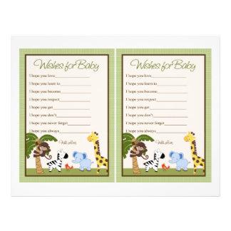"Jungle Buddies/Safari ""Wishes for Baby"" sheet 21.5 Cm X 28 Cm Flyer"