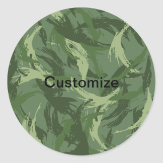 Jungle Camouflage Round Sticker