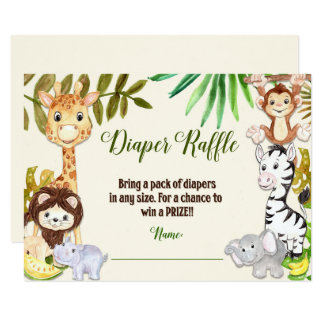 Jungle Diaper Raffle, Safari Diaper Raffle Card