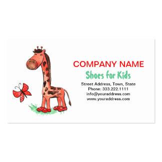 Jungle Diva Giraffe Shoes For Kid s Business Card