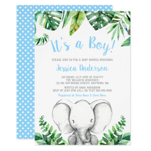 Baby boy shower invitations zazzle jungle elephant boy baby shower invitations filmwisefo