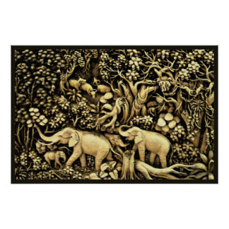 Jungle Elephants 26 x 24 Poster