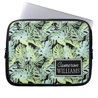 Jungle Floral Pattern | Add Your Name Laptop Computer Sleeves