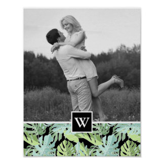 Jungle Floral Pattern   Add Your Photo & Initial Poster