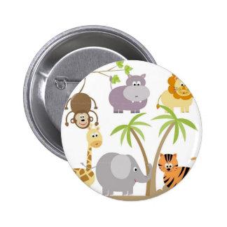 jungle-flower pinback button