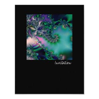 Jungle · Fractal Art · Purple & Teal 11 Cm X 14 Cm Invitation Card