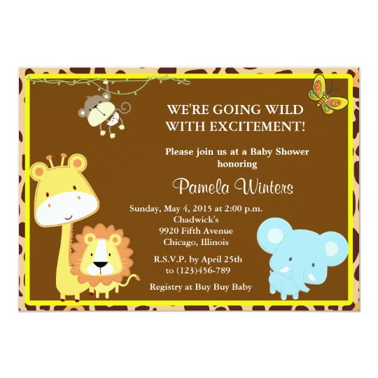 Jungle Friends Baby Shower Invitations