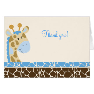 Jungle Giraffe (Blue) Folded Thank you notes Note Card