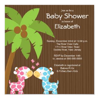 Jungle Giraffe Multiple Baby Shower Invitations