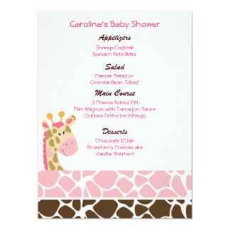 Jungle Giraffe Pink Custom Baby Shower Menu Card