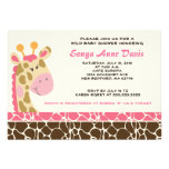 Jungle Giraffe Print (Pink) Baby Shower 5x7 Invite