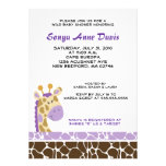 Jungle Giraffe Print (Purple) Baby Shower Invite