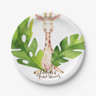 Jungle Giraffe Watercolor Baby Shower Party 7 Inch Paper Plate