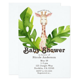 Jungle Giraffe Watercolor Baby Shower Party Card