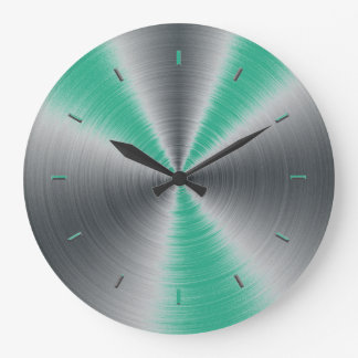 Jungle Green Accents Monochromatic Large Clock