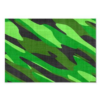 jungle green army camouflage textured custom invitation