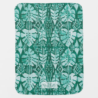 JUNGLE IKAT Hawaiian Green Tribal Tropical Baby Blanket