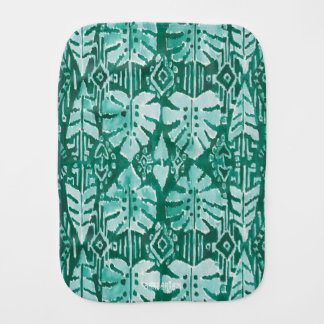 JUNGLE IKAT Hawaiian Green Tribal Tropical Burp Cloth
