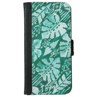JUNGLE IKAT Hawaiian Green Tribal Tropical iPhone 6 Wallet Case