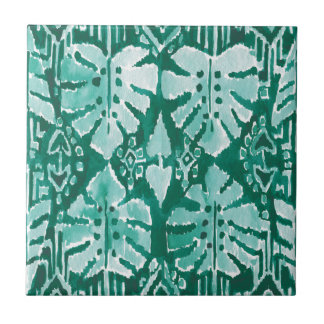 JUNGLE IKAT Hawaiian Green Tribal Tropical Small Square Tile