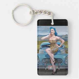 Jungle Jane Leopard Hot Rod Pin Up Car Girl Key Ring