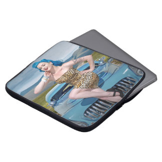 Jungle Jane Leopard Hot Rod Pin Up Car Girl Laptop Sleeve