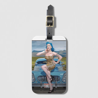 Jungle Jane Leopard Hot Rod Pin Up Car Girl Luggage Tag