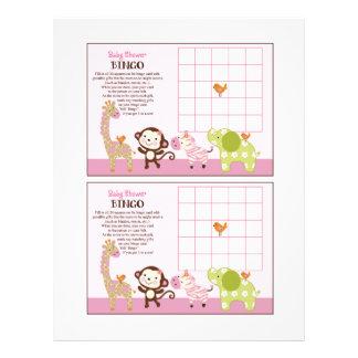 Jungle Jill Girl Animals Baby Shower Bingo sheet Flyers
