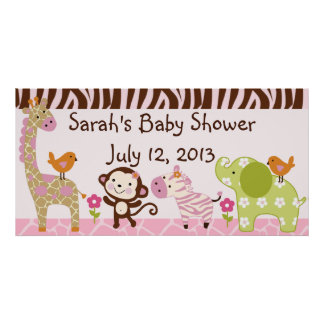 Jungle Jill/Girl Animals Baby Shower Poster/Banner Poster