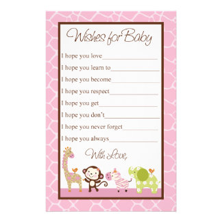 Jungle Jill/Girl Animals  Wishes for Baby Shower Stationery