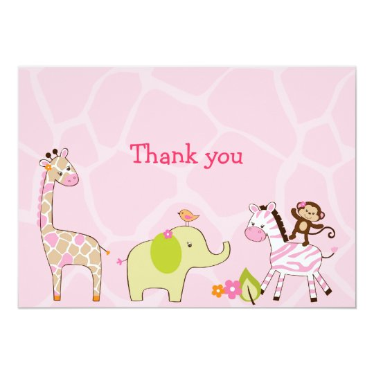Jungle Jill Jungle Animal Thank You Note Cards 13 Cm X 18 Cm Invitation Card