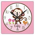Jungle Jill Monkey Kid's Baby Nursery Clock
