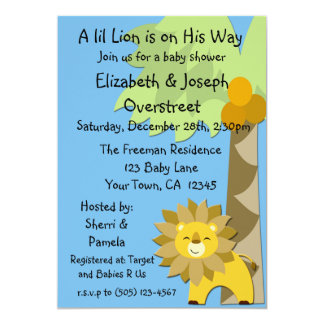 Jungle King Lion Blue Sky Baby Shower Zoo Safari Card