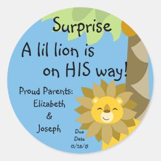 Jungle King Lion Blue Sky Surprise Baby Zoo Safari Classic Round Sticker