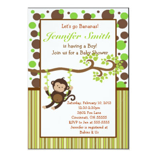 Jungle Monkey Baby Shower Invitation