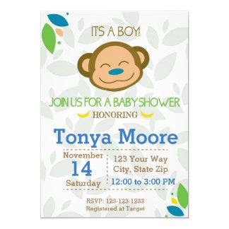 Jungle Monkey Blue Baby Shower Invitation