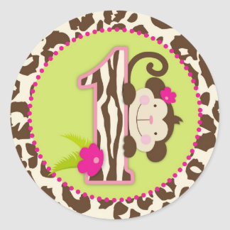 Jungle Monkey First Birthday Cupcake Topper Pink Classic Round Sticker