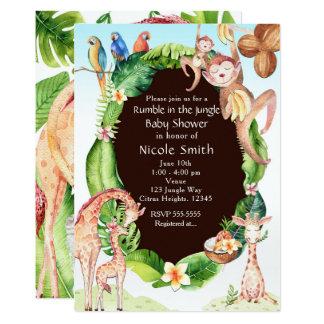 Jungle Monkey & Giraffe Baby Shower Invitations