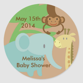 Jungle or Zoo Stickers for baby shower gift bags