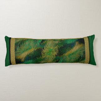 Jungle Palm Fronds Gold Trim Body Cushion
