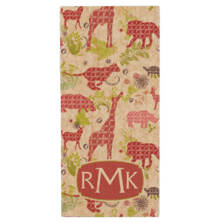 Jungle paradise | Monogram Wood USB 2.0 Flash Drive