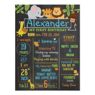 Jungle Party first birthday sign poster 3