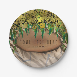 JUNGLE PARTY Gold Glam Animal Print Birthday Paper Plate