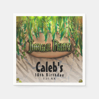 JUNGLE PARTY Leaves & Animal Print Custom Birthday Paper Napkins