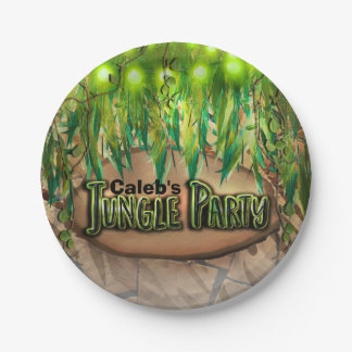 JUNGLE PARTY Leaves & Animal Print Custom Birthday Paper Plate