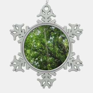 Jungle Ropes Tropical Rainforest Photo Snowflake Pewter Christmas Ornament