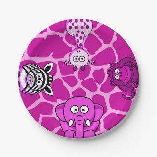 Jungle safari animal girl baby shower birthday 7 inch paper plate